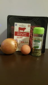 Ingredients for the burger recipe