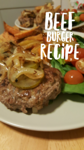 Image and title for beef burger recipe