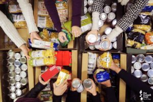 /collection of items for the food bank